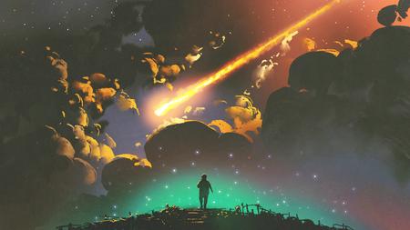 paysage nocturne d'un garçon à la recherche du météore dans le ciel coloré, style art numérique, illustration peinture