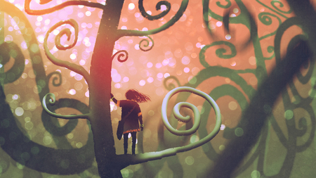 girl standing on a branch of a fantasy tree in enchanted forest, digital art style, illustration painting