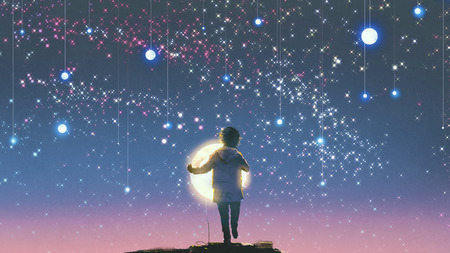 아름 다운 하늘, 디지털 아트 스타일 그림 페인팅에 매달려 서 빛나는 달 잡고 소년