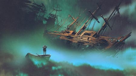 遺棄された船、デジタル アートのスタイル、絵画の図を見て雲と宇宙空間でボートに乗って男のシュールな風景