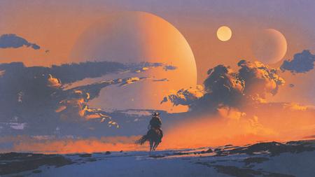 夕焼け空の惑星の背景、デジタル アートのスタイル、絵画の図に対して馬に乗るカウボーイ