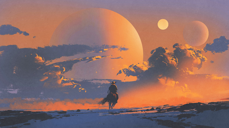 cowboy riding a horse against sunset sky with planets background, digital art style, illustration painting Reklamní fotografie - 86548808