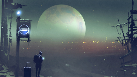 night scenery of the boy at the bus stop waiting, digital art style, illustration painting Stock Photo
