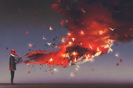 Homme, dans, masque rouge, debout, à, feu, flamme, et, fumée, sortir, depuis, sien, poitrine, style art numérique, illustration, peinture Banque d'images - 88372109