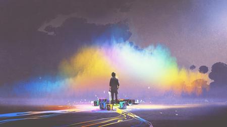 man met penseel en verf emmers staat voor kleurrijke cloud, digitale kunststijl, illustratie schilderij