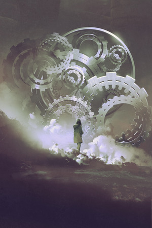 young woman standing in front of big gears and cogs, digital art style, illustration painting Stockfoto