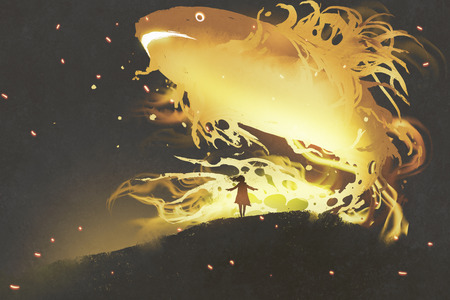 giant fish floating in the night sky above little girl, digital art style, illustration painting