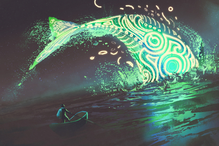 海、デジタル アートのスタイル、絵画の図でジャンプの輝く緑鯨を見てボートに乗って男の幻想風景