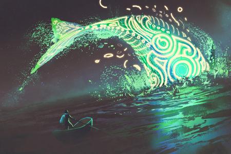 Fantasielandschaft des Mannes auf Boot den springenden glühenden grünen Wal im Meer, digitale Kunstart, Illustrationsmalerei betrachtend Standard-Bild