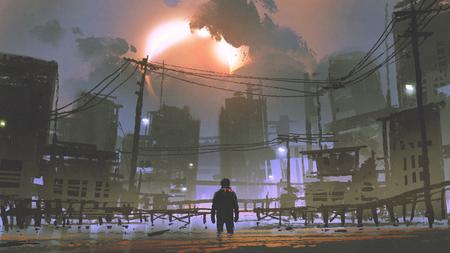 Escena de la noche del hombre de pie en la ciudad inundada, estilo de arte digital, pintura de la ilustración Foto de archivo - 88093779