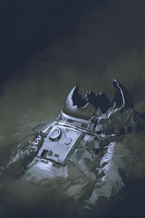 暗い背景、デジタル アートのスタイル、イラスト絵の宇宙飛行士の遺体