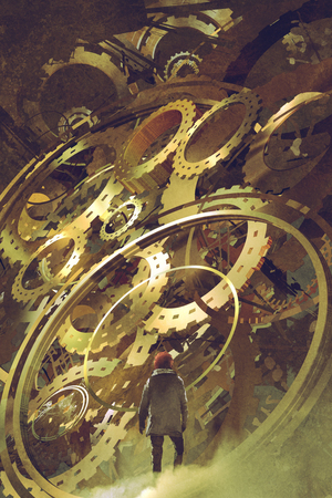 man standing in front of the big golden clockwork, digital art style, illustration painting