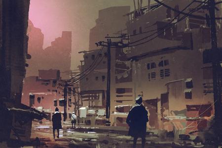 デジタル アート スタイル、絵画の図と夕暮れ時断念された都市で汚い通りの風景