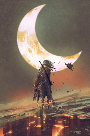 man riding horse shattered into pieces under the moon, digital art style, illustration painting Stock Photo