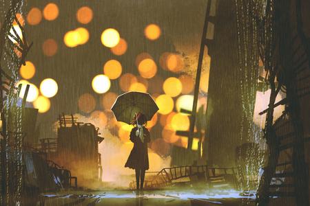 断念された都市、デジタル アートのスタイル、絵画の図だけで立っている傘を保持している女性の雨の夜のシーン