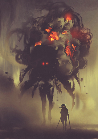 man holding twin swords standing with giant smoke monster, digital art style, illustration painting 版權商用圖片