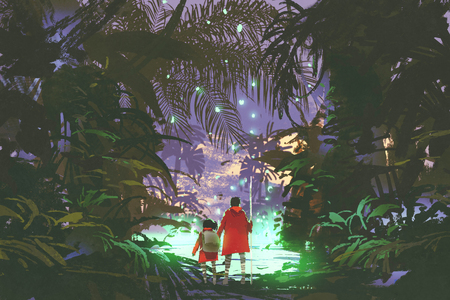 남자와 어린 소녀 환상적인 숲, 디지털 아트 스타일 그림 페인팅에서 빛나는 녹색 늪에서 찾고
