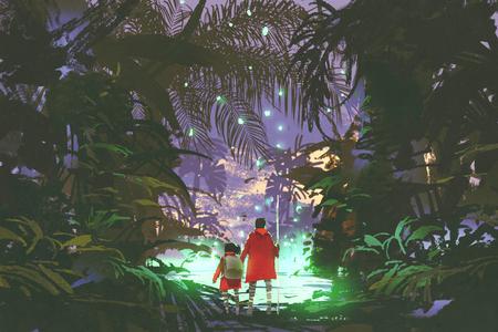 man en meisje kijken naar het gloeiende groene moeras in fantasie bos, digitale kunststijl, illustratie schilderij Stockfoto