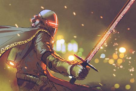 Carattere fantascientifico di astro-cavaliere in armatura futuristica che tiene spada magica, stile arte digitale, pittura illustrazione Archivio Fotografico - 87632930