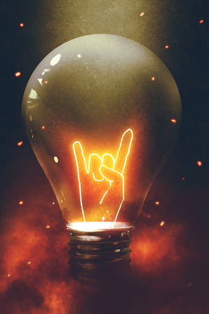 the bulb with glowing devil horns sign gesture hand in dark background, digital art style, illustration painting