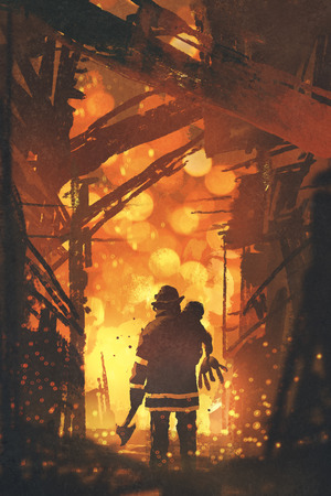 back view of firefighter holding child standing in house on fire, digital art style, illustration painting