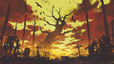 mysterious landscape showing  big bare trees with flying birds in sunset sky, digital art style, illustration painting Stock Photo