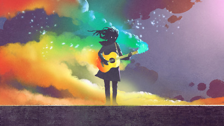 girl playing the magic guitar with colorful smoke on dark background, digital art style, illustration painting