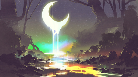 night scenery showing melting moon creates a glowing river, digital art style, illustration painting