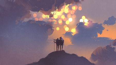 couple of hikers on top of mountain looking at many suns in the sky, digital art style, illustration painting