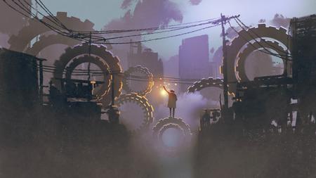 絵画イラスト、デジタル アート スタイル暗い街に巨大な歯車にランタン立っている人の夜の風景