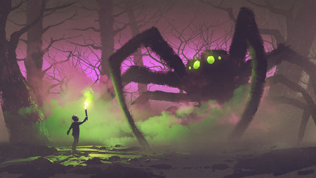 the boy with a torch facing giant spider
