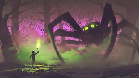 de jongen met een fakkel tegenover gigantische spin