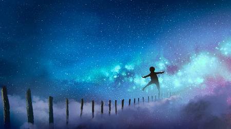 the boy balancing on wood sticks against the Milky Way with many stars, digital art style, illustration painting