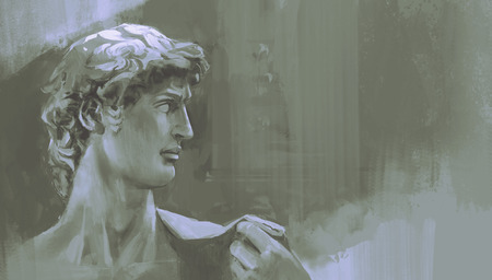 painting of Michelangelos David statue Stok Fotoğraf
