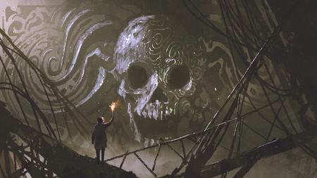 man met een brandende fakkel te kijken naar stenen bas reliëf van de schedel, digitale kunststijl, illustratie schilderij Stockfoto