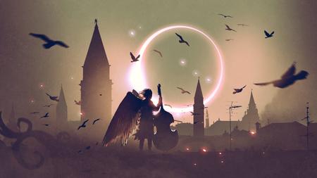 美しい日食と夜の都市に対して屋根の上にチェロを演奏天使、デジタルアートスタイル、イラスト画