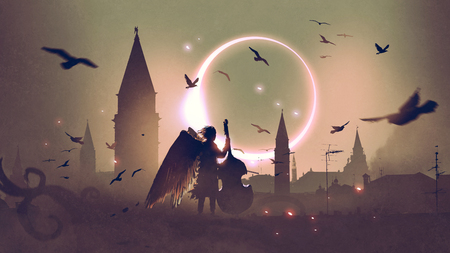 angel playing cello on roof top against night city with beautiful solar eclipse, digital art style, illustration painting Stock Photo