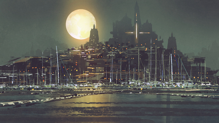 night scenery of port city with moon light, digital art style, illustration painting Archivio Fotografico