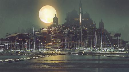 Paesaggio notturno di città portuale con la luce della luna, stile arte digitale, pittura illustrazione Archivio Fotografico - 89522399
