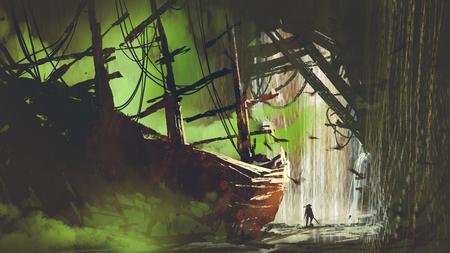 een piraat die het verlaten schip met groene rook in watervalhol, digitale kunststijl, illustratieverfschilderij heeft gevonden Stockfoto
