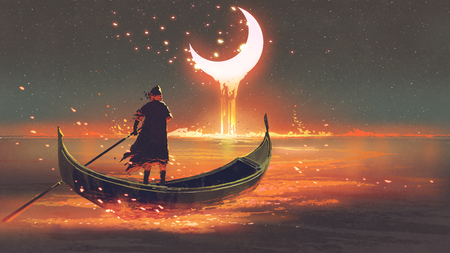 surreal concept of the man rowing a boat in the glowing sea looking at the melting crescent moon, digital art style, illustration painting
