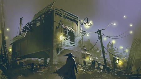 Scena notturna di un uomo che guarda la vecchia casa con spazzatura tutt'intorno, stile di arte digitale, illustrazione pittura Archivio Fotografico - 90078113