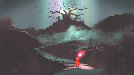het meisje in rode kap met magische fakkel lopen op bergpad leidt naar de fantasie boom, digitale kunststijl, illustratie schilderij Stockfoto