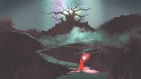 the girl in red hood with magic torch walking on mountain path leading into the fantasy tree, digital art style, illustration painting Stock Photo