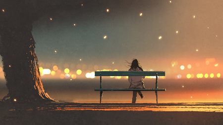 back view of young woman sitting on a bench with bokeh light, digital art style, illustration painting