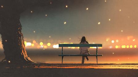 achteraanzicht van jonge vrouw zittend op een bankje met bokeh lichte, digitale kunststijl, illustratie schilderij