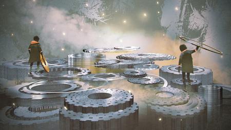 디지털 아트 스타일, 그림 주위에 많은 기어 많은 cogwheel에 서있는 두 소년 스톡 콘텐츠