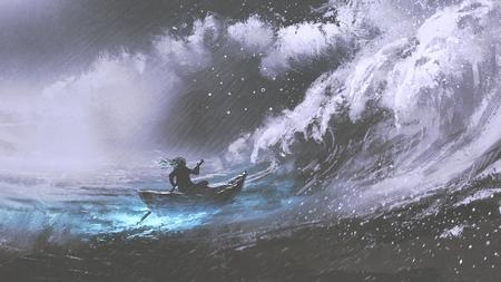 폭풍우 치는 바다, 불법 파도, 디지털 아트 스타일, 그림 페인팅에서 마법의 보트 노를 남자