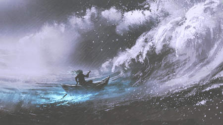 man rowing a magic boat in stormy sea with rogue waves, digital art style, illustration painting
