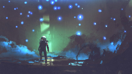 the astronaut walking in a fantastic forest with glowing spores floating around in the air, digital art style, illustration painting Stock Photo